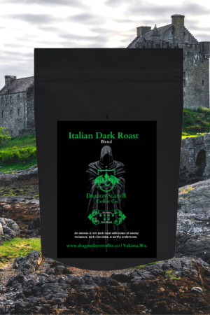 Italian Dark Roast Specialty Coffee-Fair Trade Coffee- 100% Arabica Coffee- Roat to Order Artisan Coffee-An intense & rich cup with notes of smoky Molasses & Dark Chocolate followed by subtle earthy undertones.