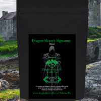 Dragon Slayer's Signature Blend Specialty Coffee-Fair Trade Coffee-100% Arabica Coffee- Medium Roast Coffee- A complex yet elegant cup with a subtle silky earthy undertones & aromas of Dark Berries. It is a Well balanced bright & flavorful brew. - Roast to Order Artisan Coffee