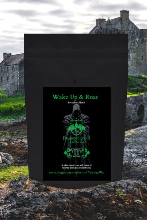 Wake up and Roar Coffee, silky smooth cup with notes of roasted peanuts and Honey
